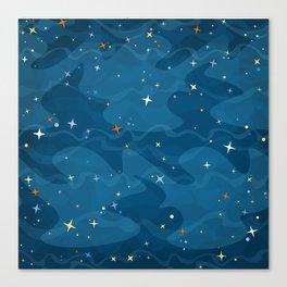 Nebula Waves and Stars Pattern Canvas Print