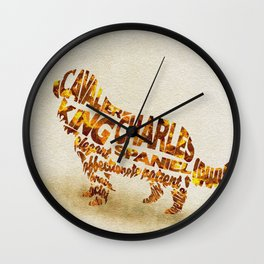 The Cavalier King Charles Spaniel Typography Art / Watercolor Painting Wall Clock