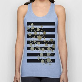 Faux Gold Paint Splatter on Black & White Stripes Unisex Tank Top