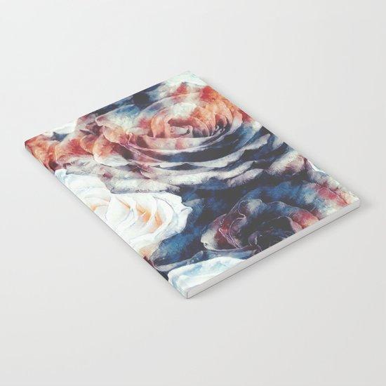 Roses print in retro drawing style watercolor digital Notebook