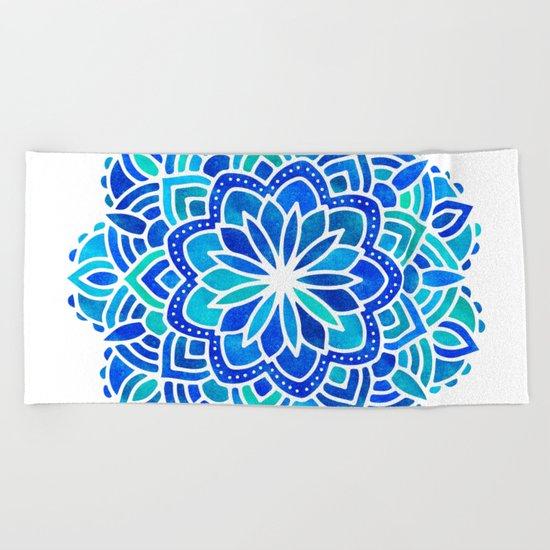 Mandala Iridescent Blue Green Beach Towel