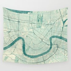 New Orleans Map Blue Vintage Wall Tapestry