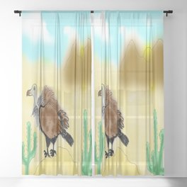 Let's beat the heat - vulture in a desert Sheer Curtain