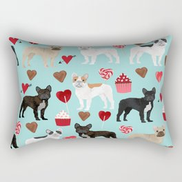 French Bulldog cupcakes valentines love hearts cute frenchie must have gifts Rectangular Pillow