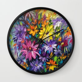 Dance of bright flowers Wall Clock