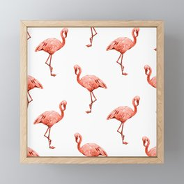 Simply Pink Flamingo in Deep Coral on White Framed Mini Art Print