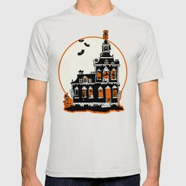 Vintage Style Haunted House - Happy Halloween T-shirt