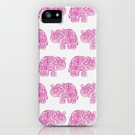 Pink Indian Woodblock Elephants iPhone Case