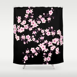 Cherry Blossoms Pink Black Shower Curtain