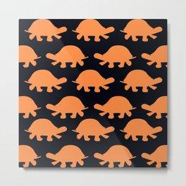 Turtles Orange Metal Print