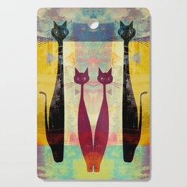 Mid-Century Modern Art 4 Cats - Graffiti Style Cutting Board