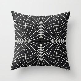 Diamond Series Inter Wave White on Charcoal Throw Pillow