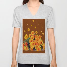 COFFEE BROWN SHOWER GOLDEN FLOWERS Unisex V-Neck