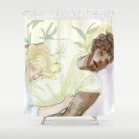 les miserables Shower Curtains featuring Sleeping ExR Les Mis by Pruoviare