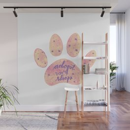 Adopt don't shop galaxy paw - pastel pink and ultraviolet Wall Mural