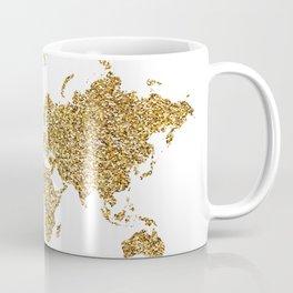 world map white gold Coffee Mug