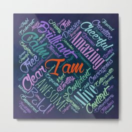 I am Affirmations Word Cloud Art Metal Print