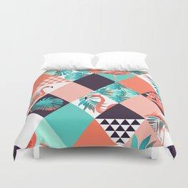 Seamless orange flamingo pa Duvet Cover