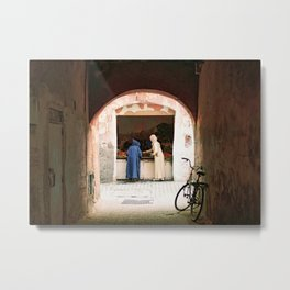 Two women at a market in the souks, Medina in Marrakech Morocco Metal Print