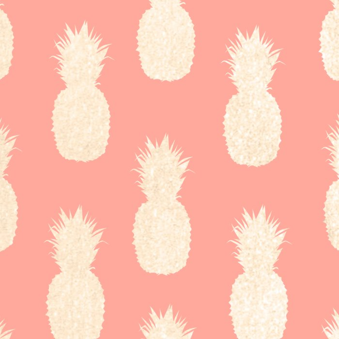 Gold Pineapples on Coral Pink Leggings