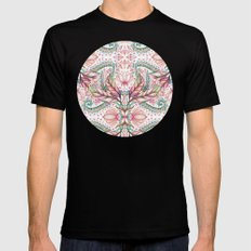 Lily, Leaf & Triangle Pattern – multi-color version 2X-LARGE Mens Fitted Tee Black