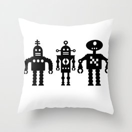 Three Robots by Bruce Gray Throw Pillow