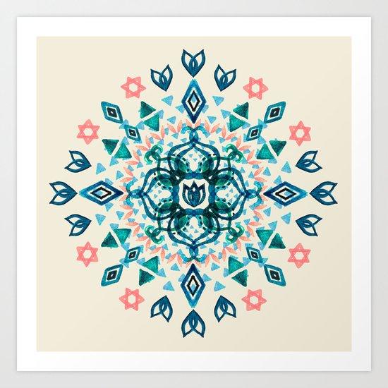 Watercolor Lotus Mandala in Teal & Salmon Pink Art Print