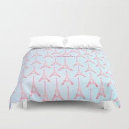 Chic pink teal watercolor Eiffel Tower pattern  Duvet Cover