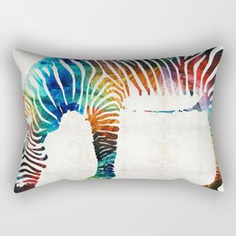 Colorful Zebra Art by Sharon Cummings Rectangular Pillow