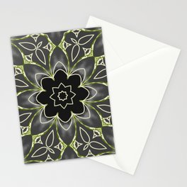 Gold & Green on Black Mosaic Tile Stationery Cards