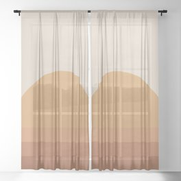 Minimal Retro Sunset / Sunrise - Desert Orange Sheer Curtain