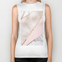 Spliced mixed rose gold marble Biker Tank