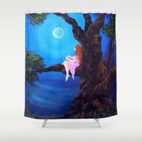 dreamer Shower Curtains featuring Dreamer by Laura Miller