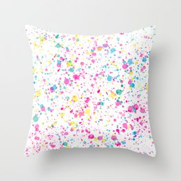 Spring Happy - Bright Color Paint Splatter Throw Pillow