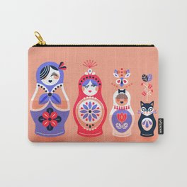 Russian Nesting Dolls – Pink & Lavender Carry-All Pouch