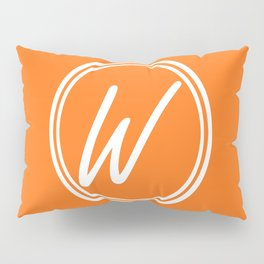 Monogram - Letter W on Pumpkin Orange Background Pillow Sham