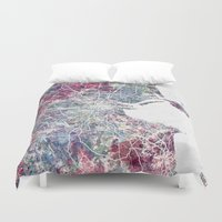 dublin Duvet Covers featuring Dublin by MapMapMaps.Watercolors