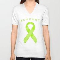 lime green V-neck T-shirts featuring Lime Green Awareness Ribbon by Campen Arts