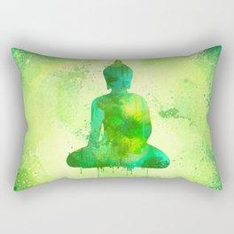 Green Watercolor Buddha Painting Rectangular Pillow