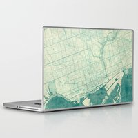vintage map Laptop & iPad Skins featuring Toronto Map Blue Vintage by City Art Posters