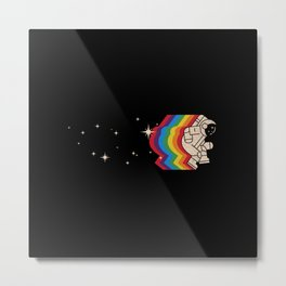 Space Dance - Astronaut - Galaxy - Minimal Space - Rainbow Metal Print