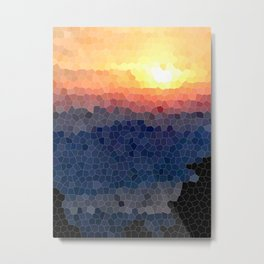 Stained-glass Effect Sunset Metal Print