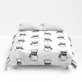 Chemex coffee maker black and white linocut minimal kitchen foodie pattern Comforters