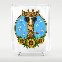 Hippie Giraffe Smoking Weed Shower Curtain