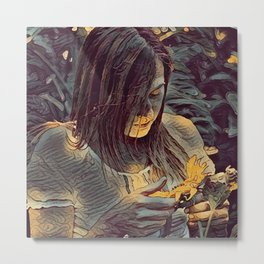 Girl with sunflowers,wall art,Illustration,graphic design Metal Print