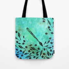 Watercolor Paintbrush Flowers and Leaves Tote Bag