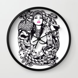 GIRL with SKULL AND SNAKE - PINK Wall Clock
