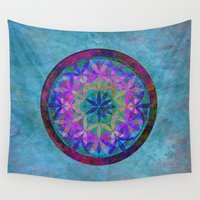 flower of life Wall Tapestries featuring Flower of Life 3 by Klara Acel