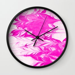 Mitori - spilled ink abstract minimal painting swirl ocean hot pink neon kids watercolor marble case Wall Clock