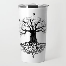 black and white tree of life with moon phases and celtic trinity knot II Travel Mug